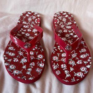 Coach Red Floral Abigail Flip Flop size 7/8